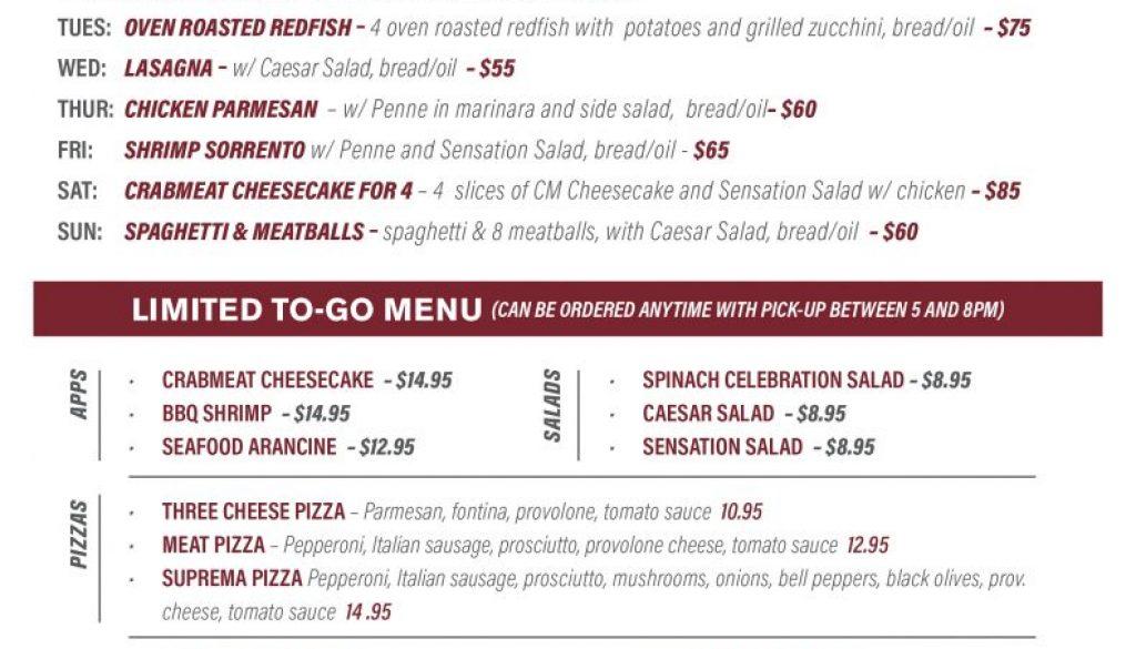 RUF CS family meal menu 5-10 LAF